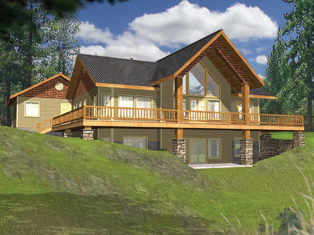 House plans home plans and floor plans from ultimate plans for Log home floor plans with garage and basement