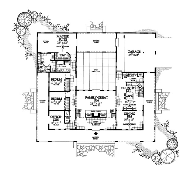 House plans home plans and floor plans from ultimate plans for U shaped house plans single level